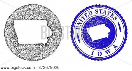 Mesh Stencil Round Iowa State Map And Grunge Seal Stamp. Iowa State Map Is Inverted In A Circle Stam