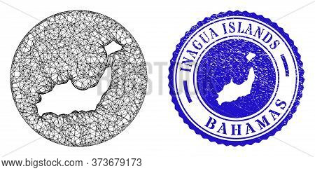 Mesh Inverted Round Inagua Islands Map And Scratched Seal Stamp. Inagua Islands Map Is Inverted In A