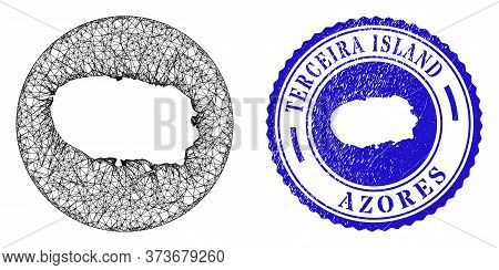 Mesh Hole Round Terceira Island Map And Grunge Seal Stamp. Terceira Island Map Is A Hole In A Round