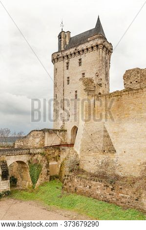The Clock Tower (la Tour De L Horloge), Main Entrance To Famous Chinon Castle In Loire Valley, Franc