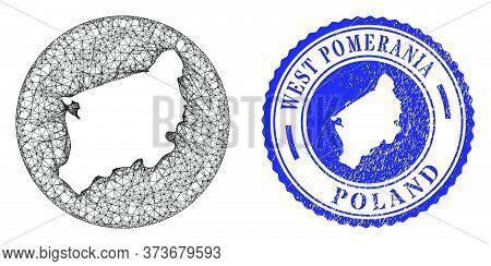 Mesh Stencil Round West Pomeranian Voivodeship Map And Grunge Stamp. West Pomeranian Voivodeship Map