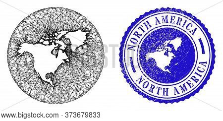 Mesh Stencil Round North America Map And Grunge Seal. North America Map Is Stencil In A Circle Seal.
