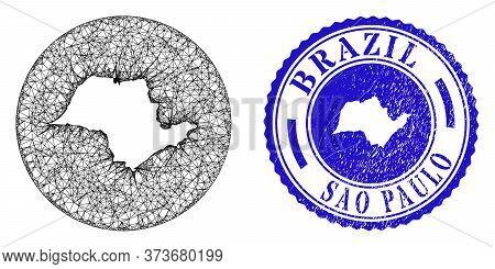 Mesh Inverted Round Sao Paulo State Map And Grunge Seal. Sao Paulo State Map Is Stencil In A Round S