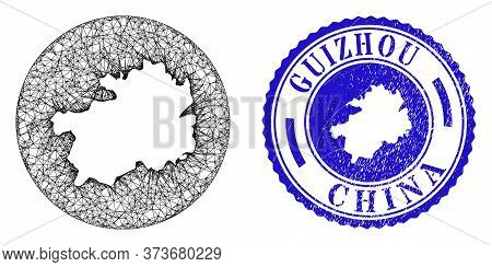 Mesh Subtracted Round Guizhou Province Map And Scratched Seal Stamp. Guizhou Province Map Is Carved