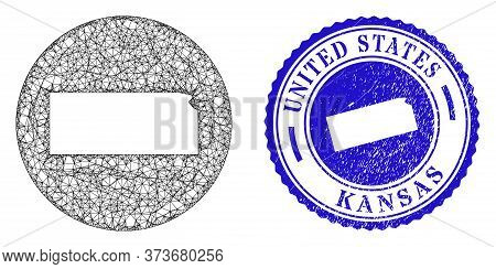 Mesh Subtracted Round Kansas State Map And Grunge Seal. Kansas State Map Is Stencil In A Circle Stam