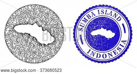 Mesh Inverted Round Sumba Island Map And Grunge Stamp. Sumba Island Map Is A Hole In A Round Stamp S