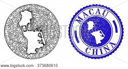 Mesh Inverted Round Macau Map And Scratched Seal Stamp. Macau Map Is Inverted In A Circle Seal. Web
