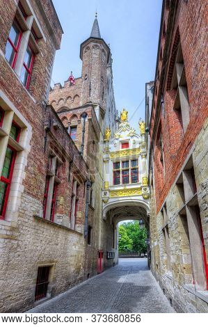 Bridge Between Museum Of Liberty And Town Hall On Burg Square, Bruges, Belgium