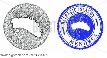 Mesh Stencil Round Menorca Island Map And Scratched Seal. Menorca Island Map Is A Hole In A Circle S