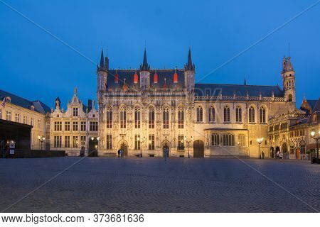 Bruges City Hall At Burg Square At Night, Belgium