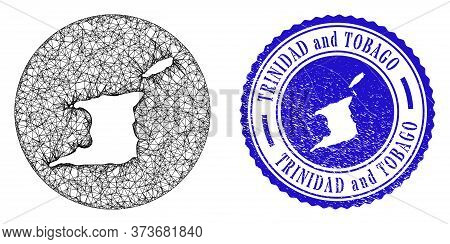 Mesh Stencil Round Trinidad And Tobago Map And Grunge Stamp. Trinidad And Tobago Map Is Stencil In A