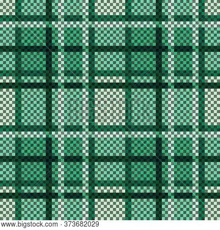 Rectangular Seamless Vector Pattern As A Tartan Plaid Mainly In Green Hues, Texture For Flannel Shir