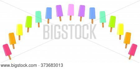 Ice Lolly Rainbow. Collection Of Colorful Fruity Frozen Popsicles - Isolated Vector Illustration On