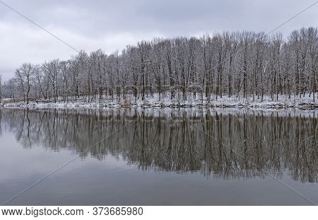 Snowy Reflection In A Calm Lake In Busse Woods Froest Preserve In Ilinois