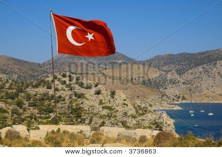 Turkish Flag Over Ancient Loryma