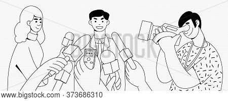 Press Conference Reporter Hands With Microphones And Recorder. Cameraman Tv News. Doodle Simple Line