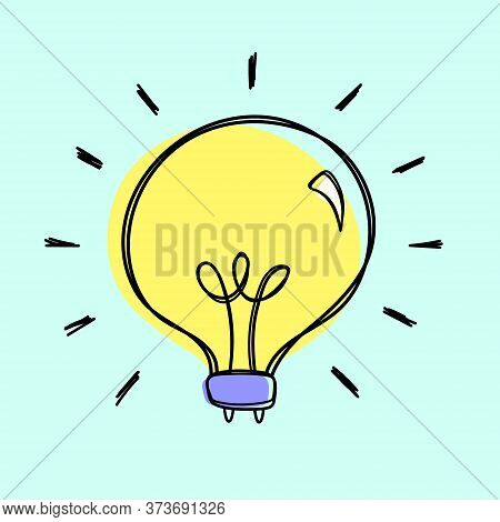 Lightbulb Doodle Vector In A Loose Hand Drawn Naive Style, Isolated On A Pale Blue Background