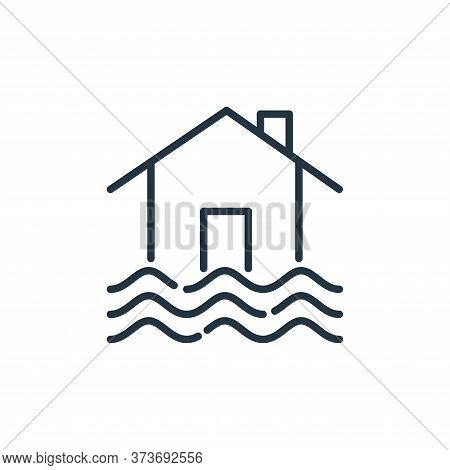 flooded house icon isolated on white background from insurance collection. flooded house icon trendy