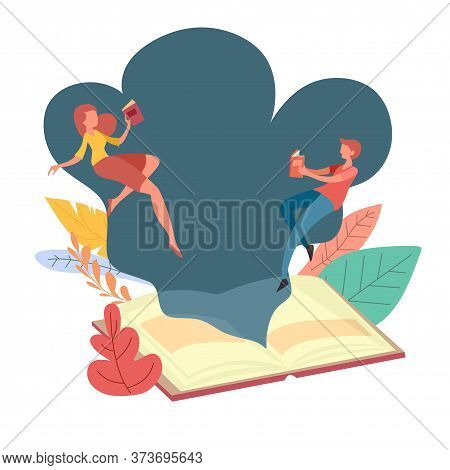 Reading Book Concept. Man And Woman Holding Book Thrown Out Of Giant Book, With Spring Floral On The