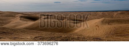 Panoramic View Of The Imperial Sand Dunes In The Sonoran Desert Of California, Usa, Featuring Tire T