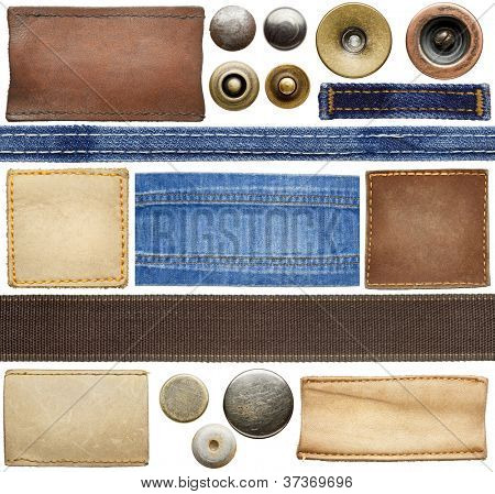 Blank leather jeans labels, buttons, straps isolated on white background