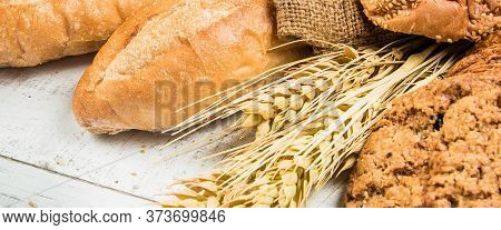 Top View Banner Bakery On Wood Background