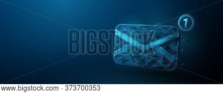 3d Envelope Email, Message Vector Icon. Low Poly Style With Wireframe Light Connection Structure. Is