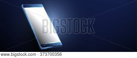 3d Smartphone Vector Mockup  With Blank White Screen.  Illustration Of Device 3d Screen