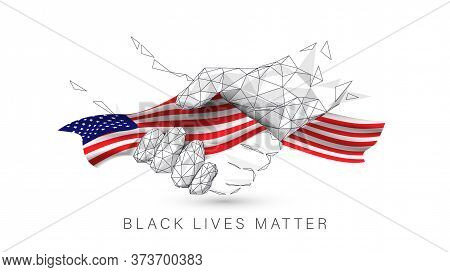 Black Lives Matter. Black And White Hands Together With Concept. Handshake Icon. United State Of Ame