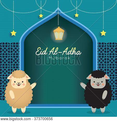 Eid Al-adha Mubarak Template Or Copy Space. Cute Cartoon Black Sheep And White Sheep With Fanoos Lan