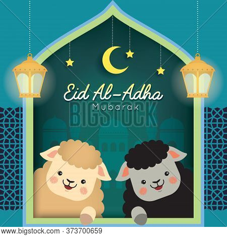 Eid Al Adha Mubarak Greeting Card. Cute Cartoon Black Sheep And White Sheep With Fanoos Lantern & Mo