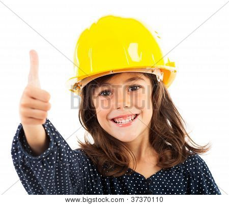 Little Girl With Yellow Helmet Showing Thumbs Up