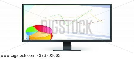 Wide Large-format Computer Monitor Showing Charts And Graph. Vector 3d Illustration Isolated On Whit