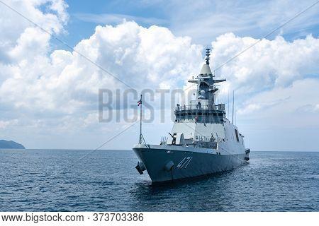 Phang Nga, Thailand - April 3, 2019 : Htms Bhumibol Adulyadej (ffg471) Stealth Frigate Of Royal Thai