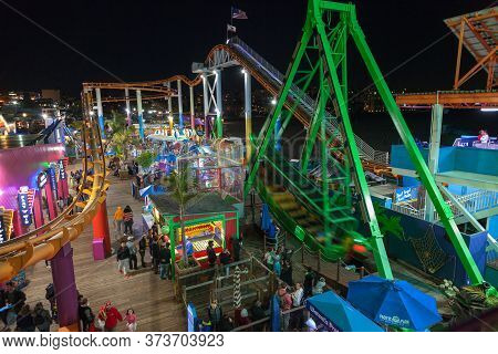 Santa Monica, United States - March 26, 2018: Night Time At The Famous Amusement Park On The Santa M