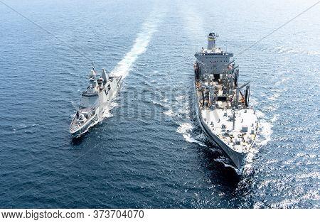 Andaman Sea, Thailand - April 9, 2019 : Htms Bhumibol Adulyadej (ffg471) Multi-role Frigate Of Royal