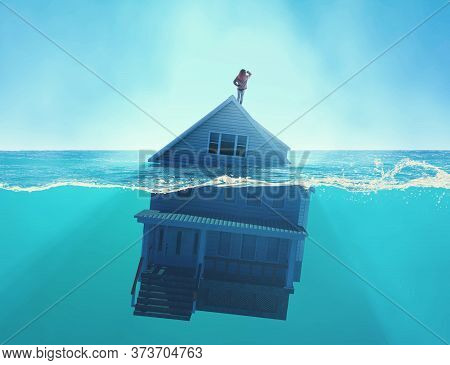 House Sinking Into The Ocean . Half Splitted Image In The Sea Of A Home Floating . Debt And Bankrupt