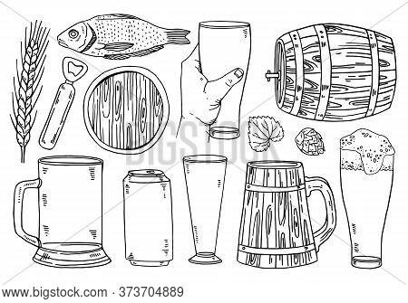 Set Of Beer Glasses, Brewing Elements, Casks, Food. Bar Menu Design. Hand Drawn Outline Vector Sketc