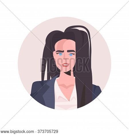 Brunette Young Woman Profile Avatar Beautiful Girl Face Female Cartoon Character Portrait Vector Ill