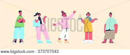 Set Cute People In Casual Trendy Clothes Men Women Standing In Different Poses Male Female Cartoon C