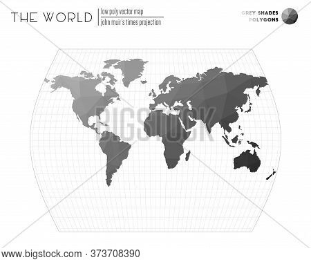 World Map In Polygonal Style. John Muir's Times Projection Of The World. Grey Shades Colored Polygon