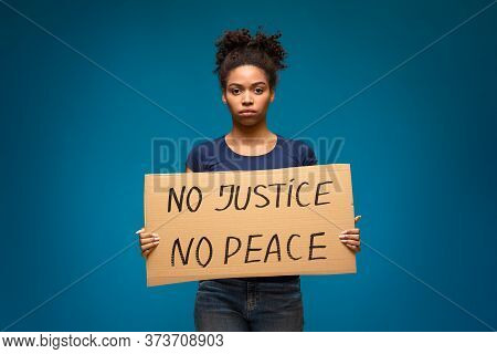 No Justice No Peace. African American Girl Protesting With Justice Demonstration Poster, Blue Studio