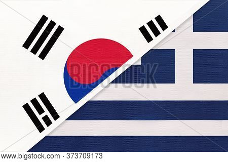 South Korea Or Rok And Greece Or Hellenic Republic, Symbol Of Two National Flags From Textile. Relat