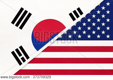 South Korea Or Rok And United States Of America Or Usa, Symbol Of Two National Flags From Textile. R