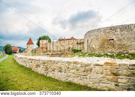 View At The Bastion With Fortificaton Wall In The Streets Of Bardejov - Slovakia