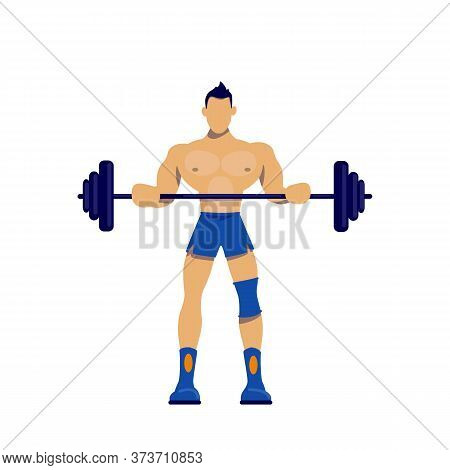 Athlete With Barbell Flat Color Vector Faceless Character. Sportsman Doing Workout. Muscular Man Wit