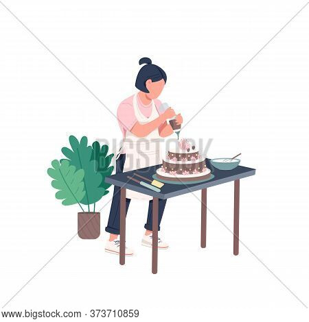 Housewife Flat Color Vector Faceless Character. Woman Cook Diy Recipe. Female Decorate Homemade Birt
