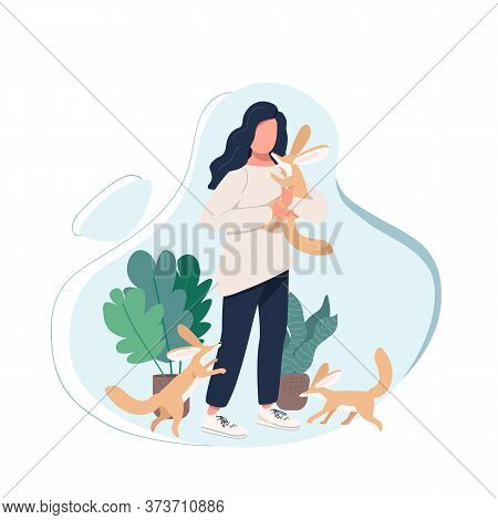 Exotic Pet Owner Flat Color Vector Faceless Character. Domesticated Animal With Female. Woman With F