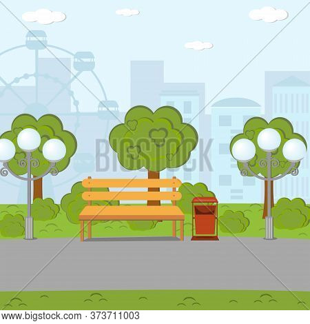 Empty Park With A Bench, Urn And Lanterns On The City Background, Color Vector Illustration In Flat