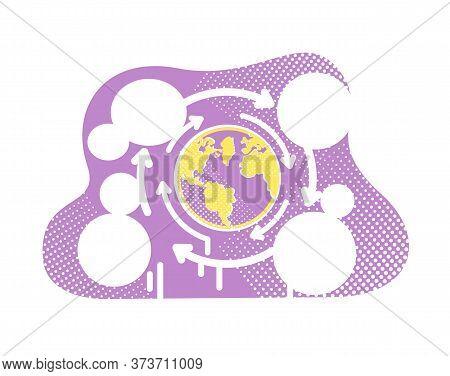 Globalization Flat Concept Vector Illustration. Worldwide Communication. World Connection. Planet Ea
